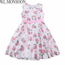 W.L.MONSOON Princess Dress Baby Girls Summer Dresses 2017 Designer Clothes Kids Rose Flower Dress for Girls Costumes Robe Enfant