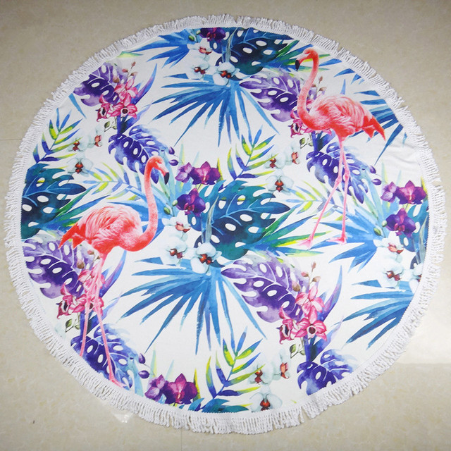 Sunnyrain Flamingo Round Beach Towel With Tels Microfiber For Towels Large 150cm Yoga
