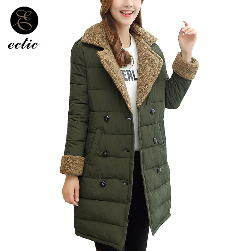 reunirse nuevo estilo sitio web para descuento Winter 2019 Parka Women Cashmere Coat Casacas Para Mujer Korean Fur Coats  Long Padding Padded Jacket Quilted Coat Lapel Jacket