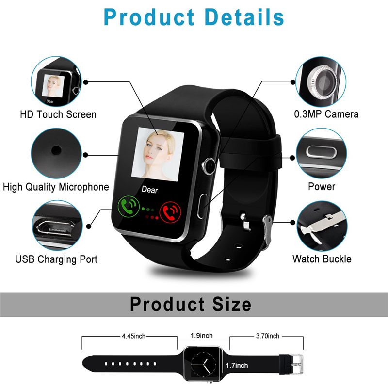 Bluetooth X6 Smart Watch Men with Camera Touch Screen Wrist Smartch Watch for Android IOS Phone Sports Smartwatch Women Sim Card Pakistan