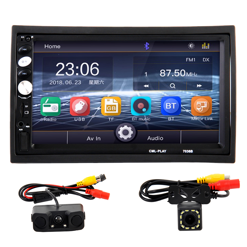 2din Car Radio 7 Inch Touch Mirrorlink Player Subwoofer MP5 Player Bluetooth Rear View Camera Tape Recorder