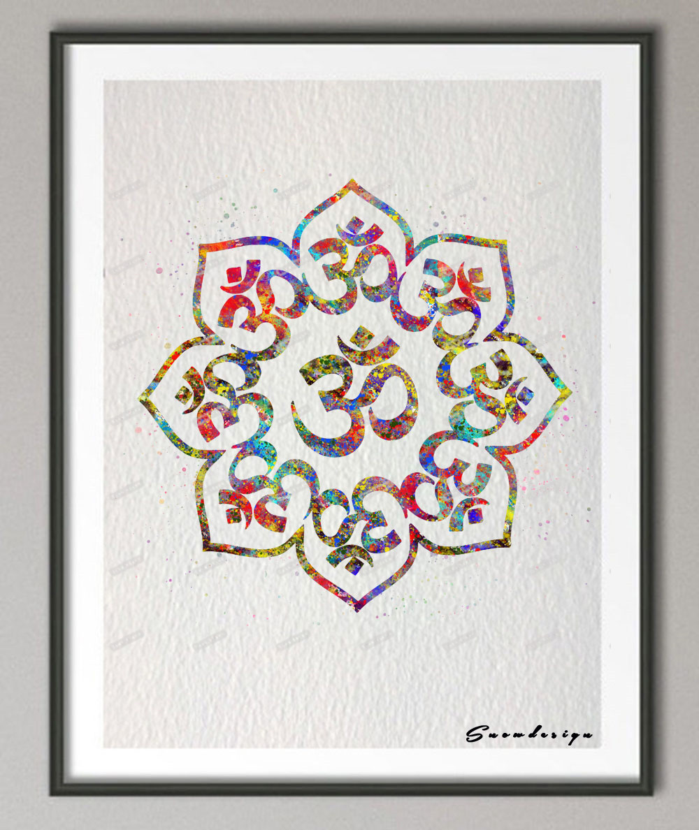 original yoga painting omwoman yoga meditate. Exellent Yoga DIY Original Watercolor OM Mandala Buddha Yoga Poster Print Pictures Canvas  Painting Wall Art Living Room Home Decoration Giftsin Painting U0026 Calligraphy  And Omwoman Meditate