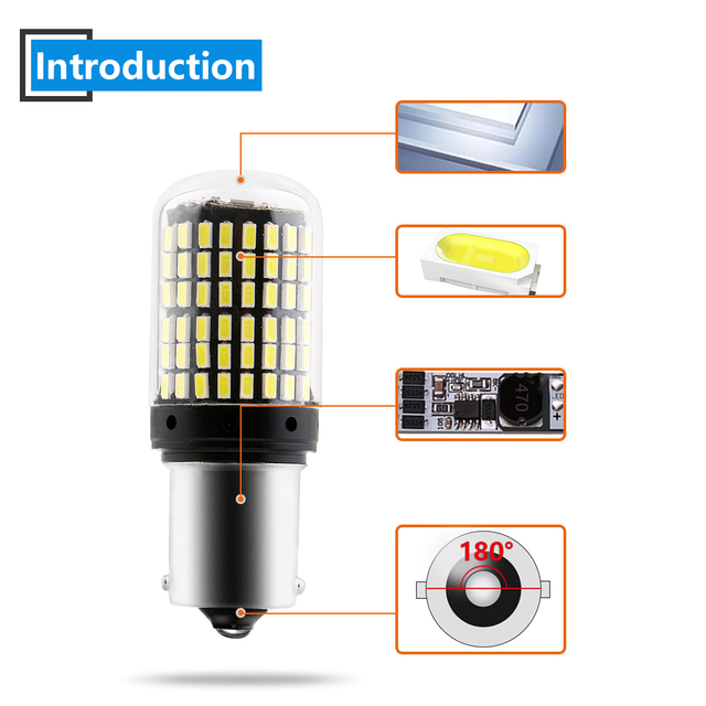 YM E-Bright 2PCS 1156 P21W BA15S PY21W BAU15S LED Canbus 3014 S25 Error FREE Car Turn Lights 12V DC NO Hyper Flash Amber White