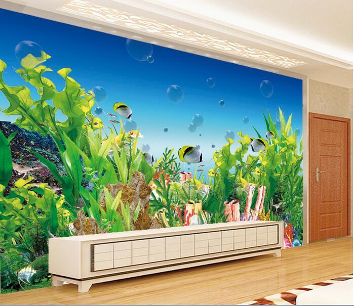 3d Room Wallpaper Custom Mural Non Woven Wall Sticker Cartoon Aquarium Sea  Corals Photo 3d Wall Murals Wallpaper