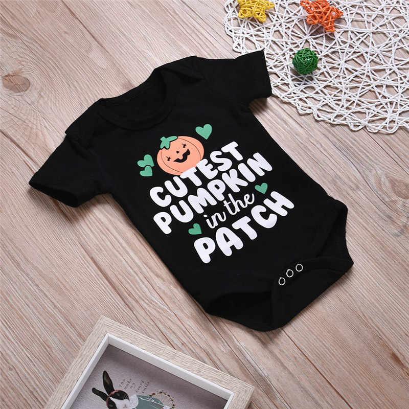 Monos ropa de bebé recién nacido con estampado de letras mameluco de manga corta cuello redondo mono Halloween Outfitsr infancia oupa para menino