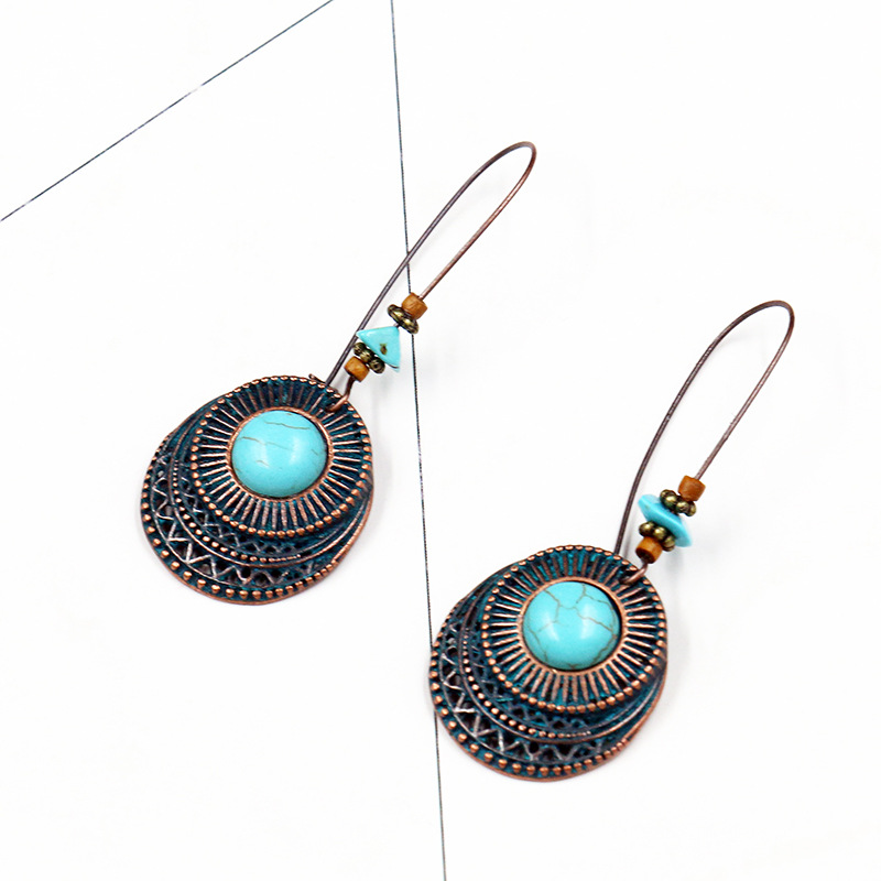 Dangle Earrings Hanging for Women Ethnic Bronze Geometric Drop Earrings Vintage Jewelry Fashion Copper Alloy Earrings Party Gift 1