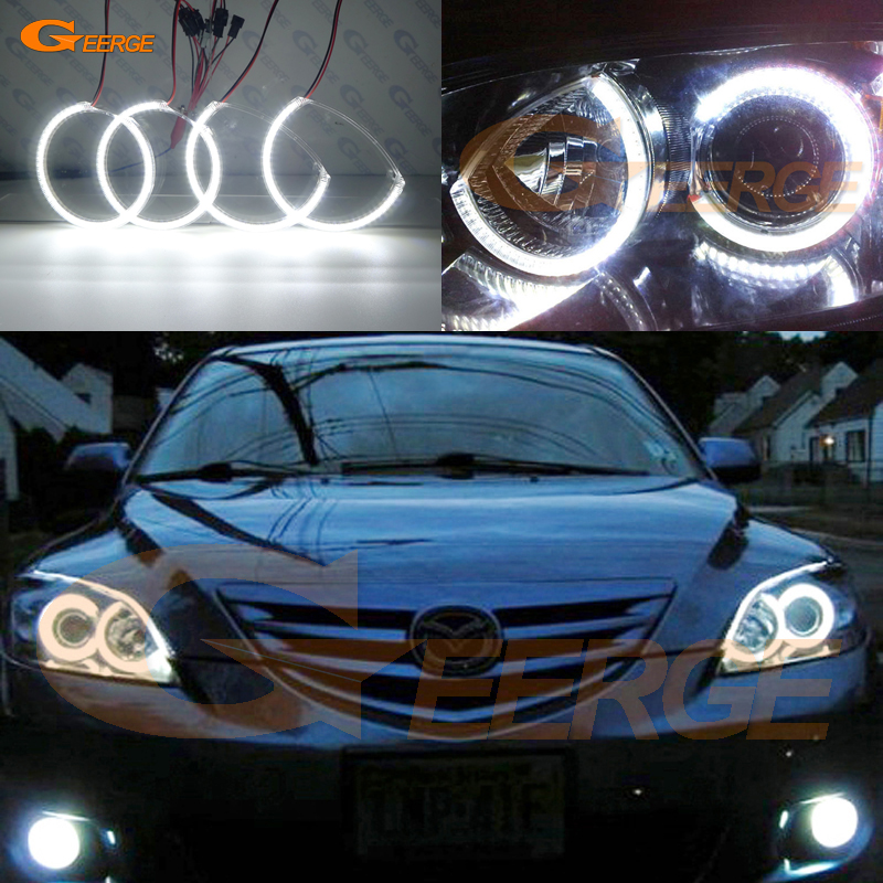 Pour Mazda 3 mazda3 2003 2004 2005 2006 2007 Excellent led ange yeux Ultra lumineux éclairage smd led ange yeux Halo anneau kit