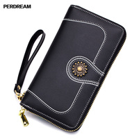 PERDREAM Cowhide High Capacity Wallet for Woman Fashion Long Clutch Bag Genuine Leather Purse Coin Pocket ID Card Holder
