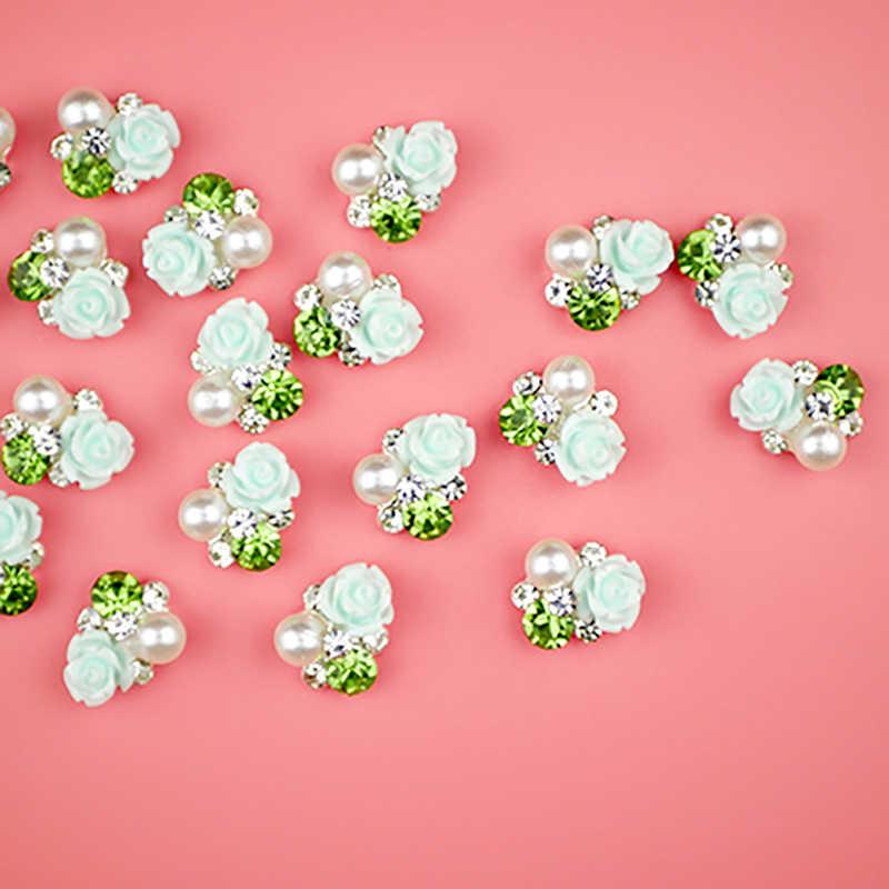 Strass אמנות ציפורן פרח סגנון עיצוב נייל סגסוגת 3D Rhinestones פרל קישוט מניקור אביזרי נייל קישוטי NHY