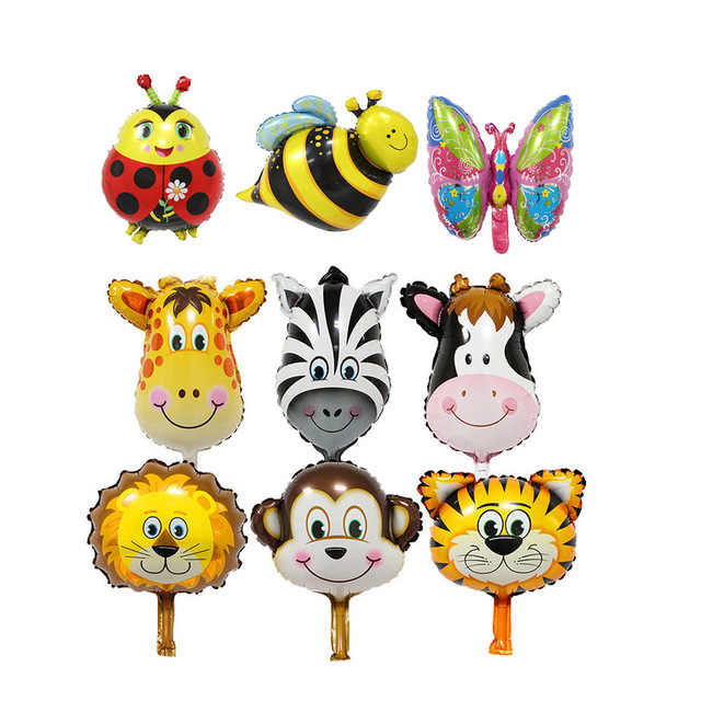 KUAWANLE Mini Animal cabeza de papel de aluminio globos inflables globo de aire decoraciones para fiestas de cumpleaños juguetes para niños Baby Shower Party Supplies