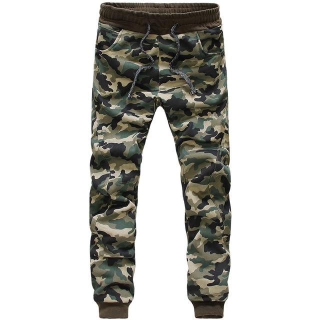 Pantalones Ocasionales de los hombres 2016 Moda Camuflaje Impreso Pantalones Pitillo Rectos Masculina Marca de Ropa de Carga pantalones de Chándal Basculador D052