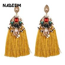 Brinco Tassel Earrings for Women Fashion ZA Jewelry Boho Statement Colorful Crystal Beads Drop Earring Female Jewellery Gift