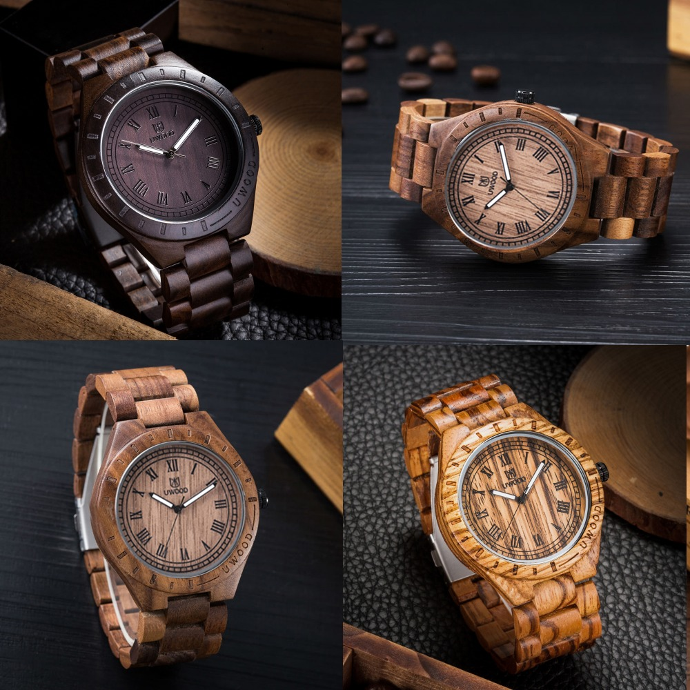 Fashion Japan Movement Natural Wooden Wristwatches Retro Style Simple Dial Handmade Wood Watch Unique For Men