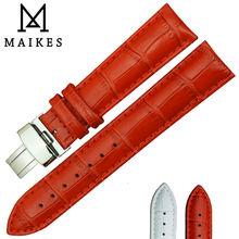 Maikes hebilla desplegable venda de reloj 14 mm 16 mm 18 mm 20 mm 22 mm rojo genuino del becerro correa de reloj de cuero para mujeres reloj de cuarzo