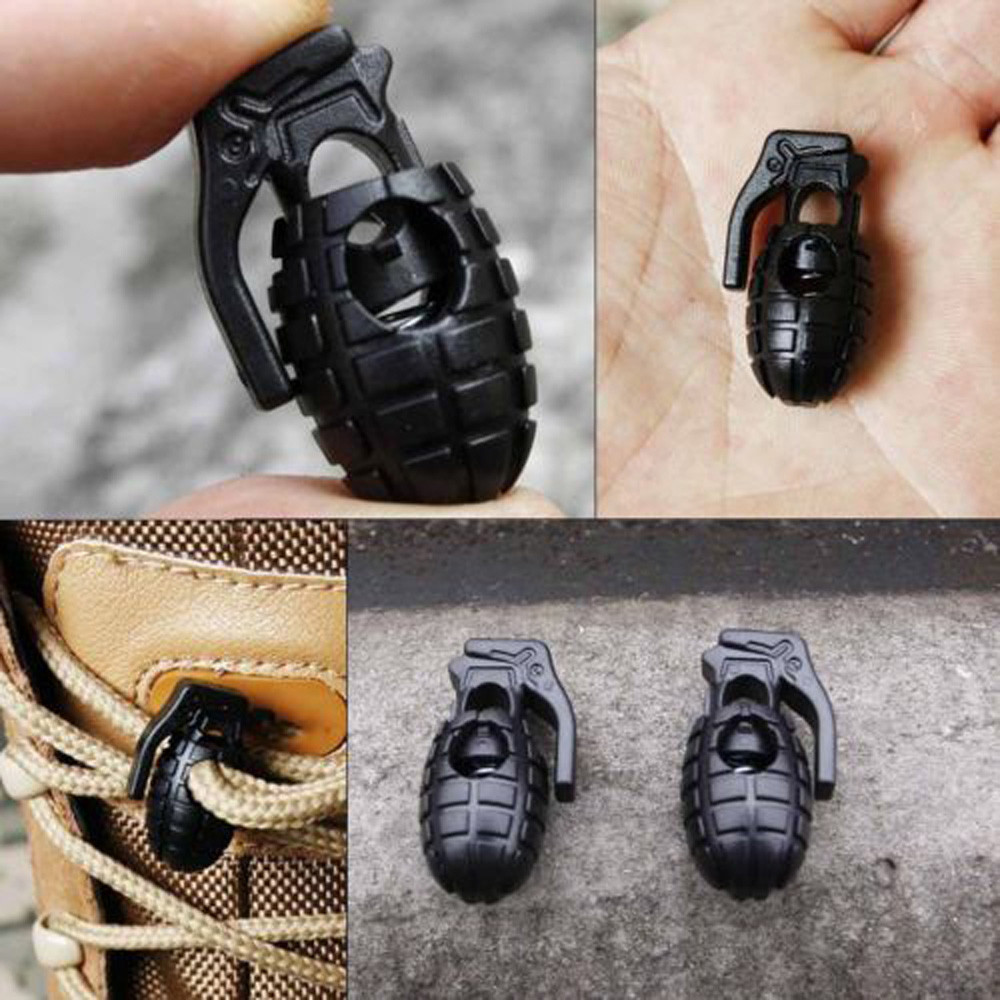 10Pcs EDC Gear Tactical Outdoor Hiking Boots Shoes Grenade Shoelace Buckle Clip for backpacks paracord decoration 15
