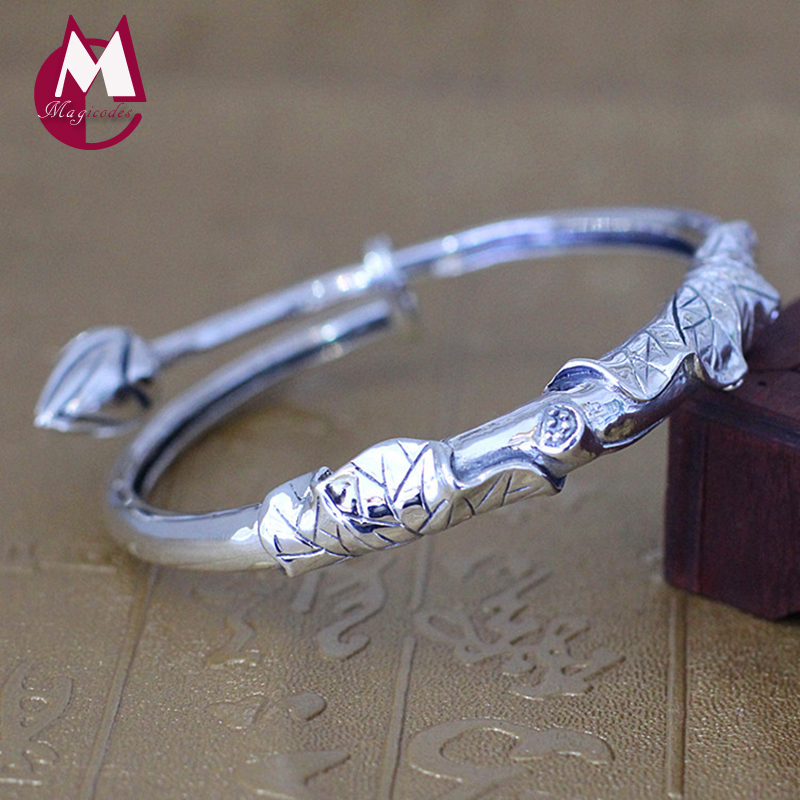 Handmade Lotus Leaves Flower Opening Charm Bangle 100% 925 Sterling Silver Bracelets Bangles For Women Vintage Fine Jewelry SB06 925 sterling silver expandable bracelet for women vintage lotus charm flowers engraved bracelets
