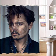 Custom Johnny Depp New Modern Shower Curtain Polyester Fabric Printing Bathroom Curtain For Bathroom Waterproof With Hook(China)
