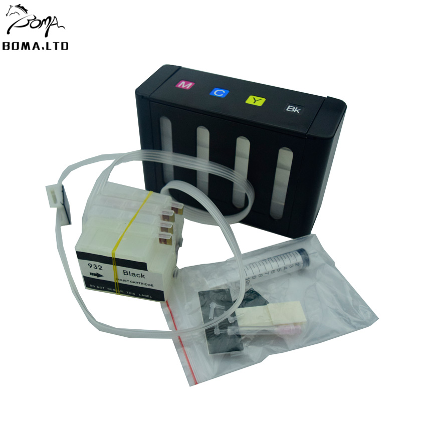 boma ltd HP932XL 933XL Ciss System Tube Tubo Tinta For HP932 933 Printer 7510 7512 7110 7610 7612 6600 With Auto Reset Chip in Continuous Ink Supply System from Computer Office