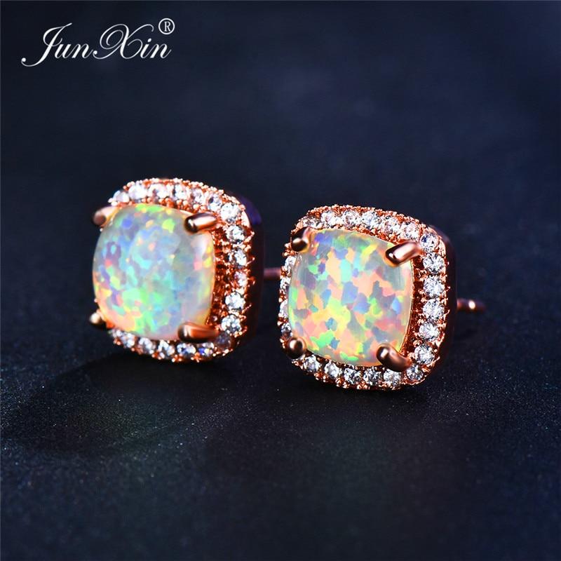 Boho Women Ladies White Fire Opal Earrings Rose Gold Filled Jewelry Vintage Double Zircon Wedding Stud Earrings