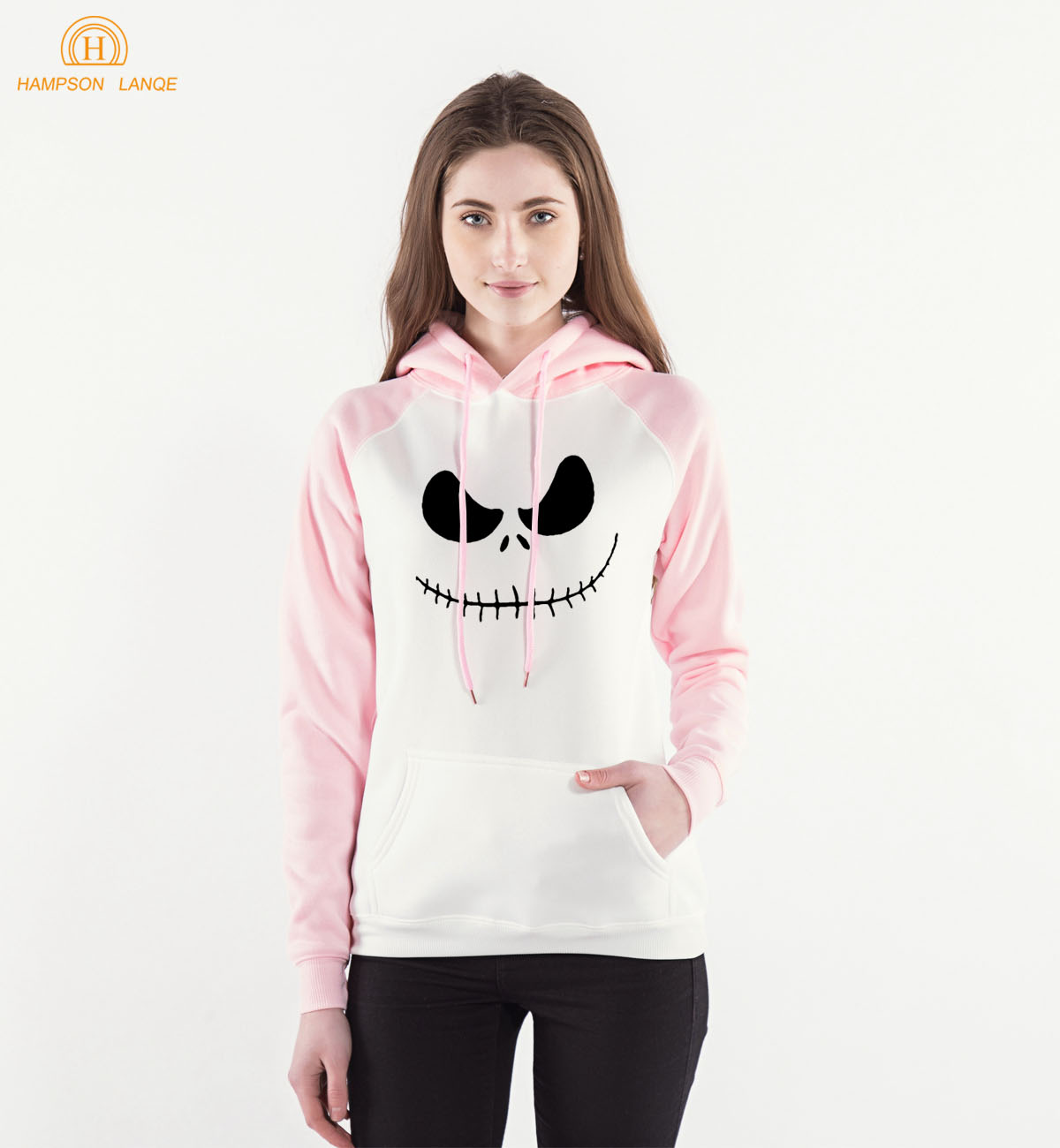 2018 Spring Autumn Raglan Hoodies Halloween Town Pumpkin King Jack Skellington Pink Casual Hoodies Womens Sweatshirts Tracksuit