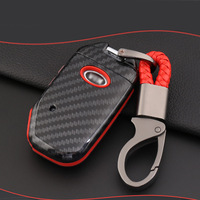 ABS Carbon Fiber Shell+Silicone Cover Remote Key Holder Fob Case&KeyChain For Kia Sportage R 2018