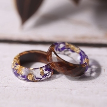 Wood & Resin Rings with Purple Flowers & Gold Flakes