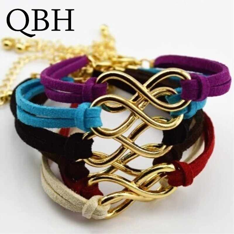 L103 Hot Boho Punk Bijoux Fashion Vintage Infinity 8 Leather Bracelets For Women Gift Wholesale Bangles Men Jewelry pulseras