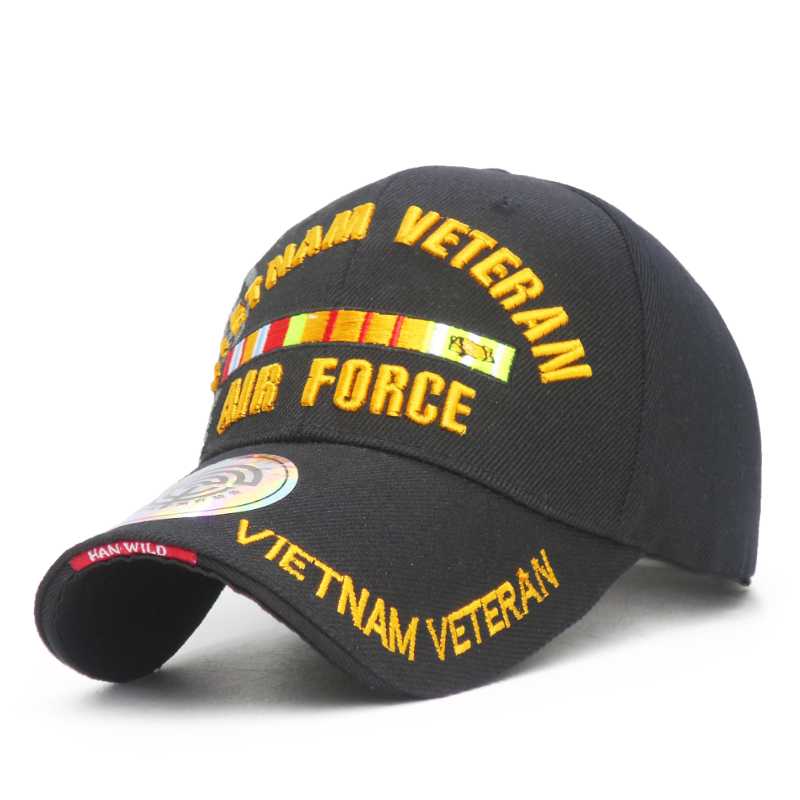 US Air Force Veteran 3D Embroidered Military Ball Cap.