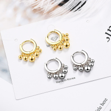 Simple Fashion Beads Small Silver Earrings Jewelry for Women