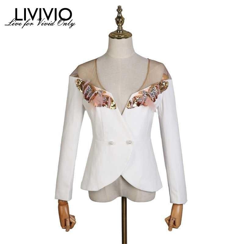 LIVIVIO Patchwork Mesh Off Shoulder Sexy Blazer Coat Women Long Sleeve Sequins Beading Blazers Tops