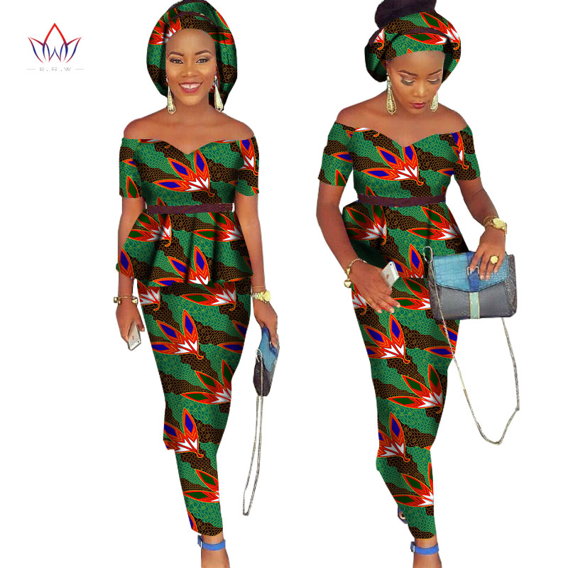 African Bazin Riche Klänning för Kvinnor 2 Pieces Set Tops & - Nationella kläder - Foto 3