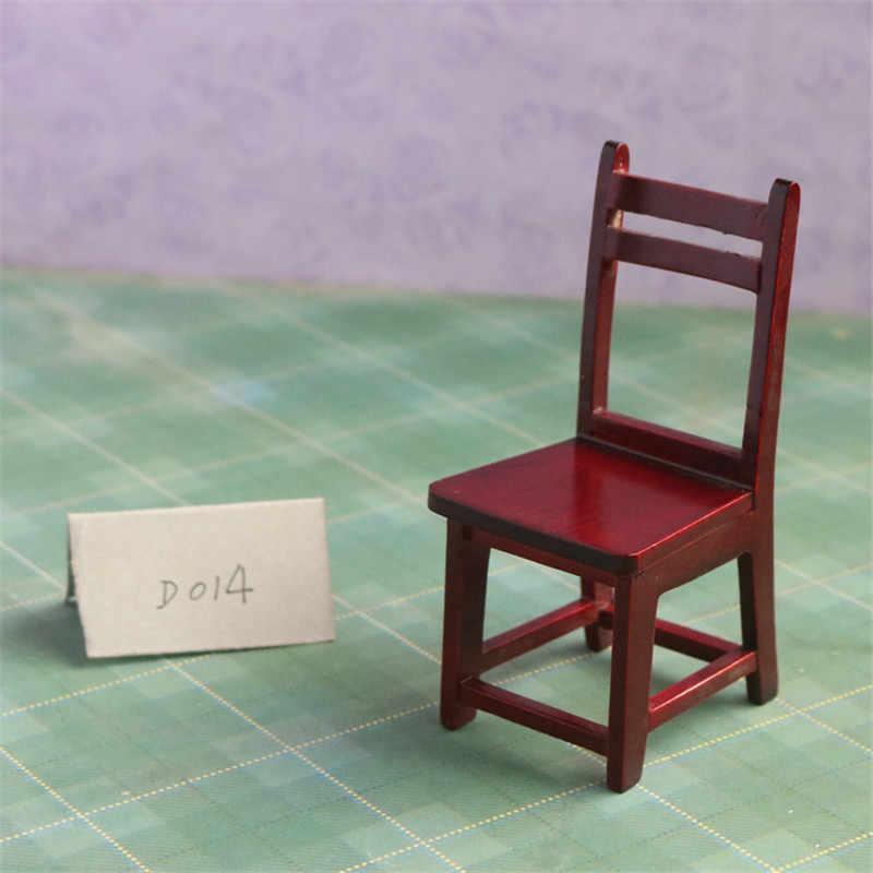 Doub K 1:12 wood Furniture toys red miniature chair miniature dollhouse furniture accessories pretend play toys gifts dolls