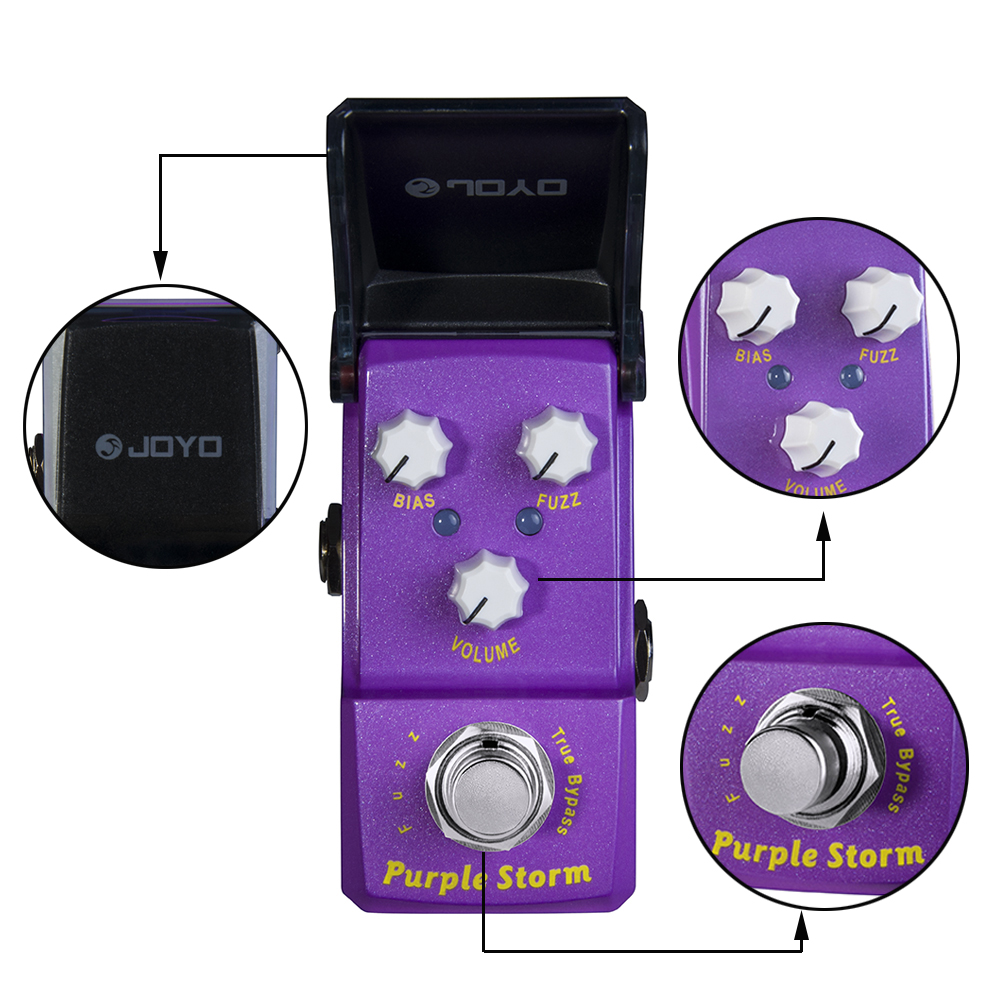 JOYO Ironman Series JF-320 Electric Guitar Mini Effect Pedals Purple Storm Fuzz Pedal True Bypass 1pcs 24 inch 100