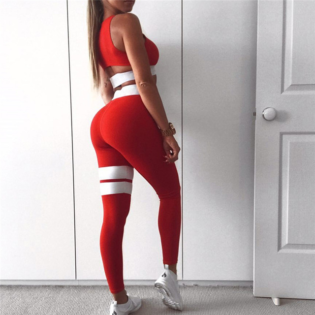 Women's Fitness Suits Cropped Tank Workout Bra Top And Legging Pants 2 Pieces Set Fashion Female Red Striped Sexy Tracksuit 2