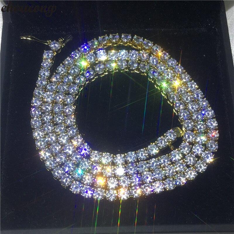 Choucong luxe femme Tennis collier 4mm AAAAA Cz or jaune rempli collier de fête pour les femmes mariée mariage accessoire bijoux