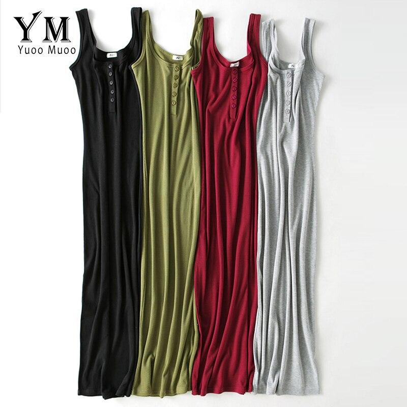 YuooMuoo High Quality Women Summer Dress 2019 Cotton Sleeveless Buttons Design Bodycon Dress Vestido Base Black Midi Dress