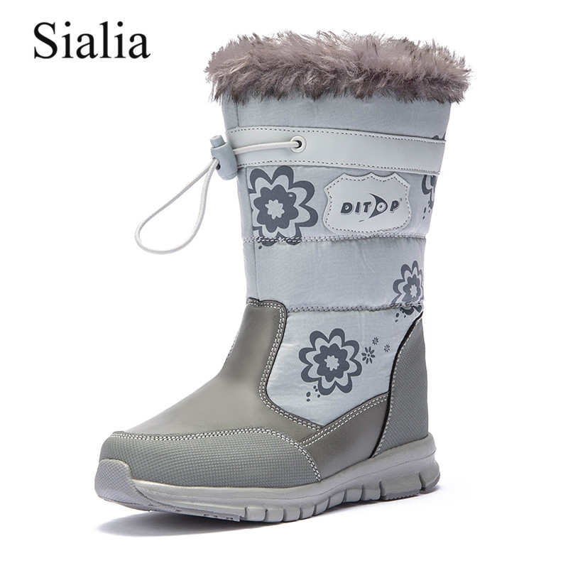Sialia Winter Children Boots For Kids Shoes Girls Boots Boys Shoes Leather Zip Mid-calf Round Toe Chaussure Fille Botas Nino