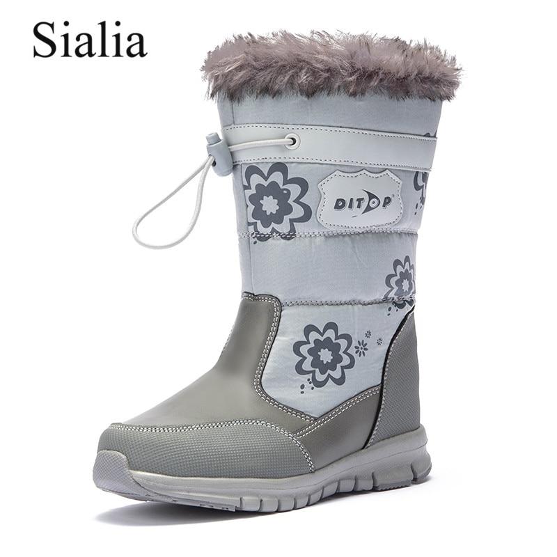 Sialia зимние Детские ботинки для детская обувь для девочек ботинки для мальчиков обувь кожи до середины икры с молнией, круглый носок; женская обувь; fille; nino
