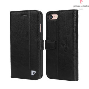 Image 3 - Pierre Cardin Brand For Apple iPhone 8 7 Plus Phone Case Genuine Leather Magnetic Book Style Flip Stand Wallet Card Holder Cover