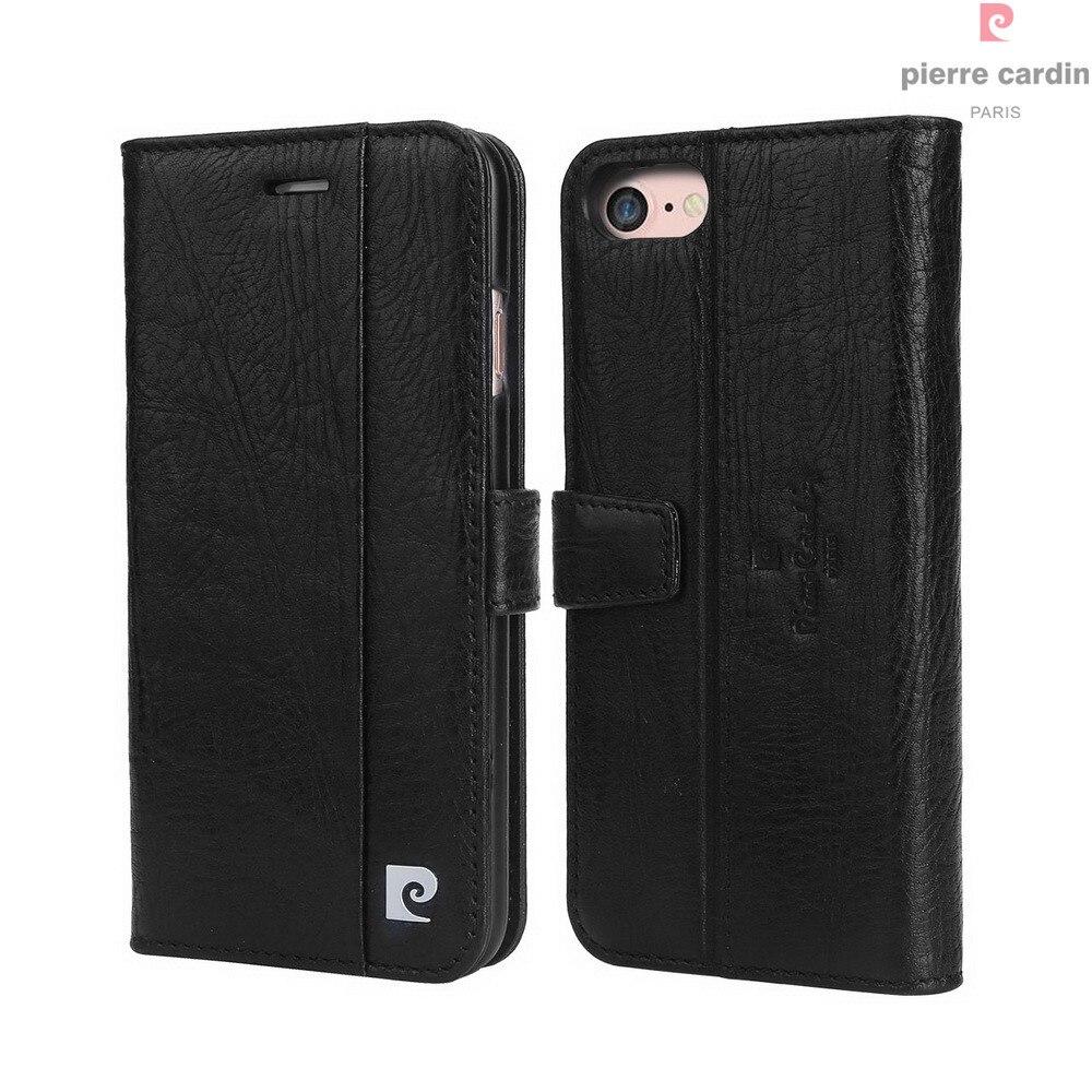 Pierre Cardin Marque Pour Apple iPhone 8 7 Plus coque de téléphone En Cuir Véritable De Style Livre Magnétique Étui Portefeuille porte-carte Couverture - 3