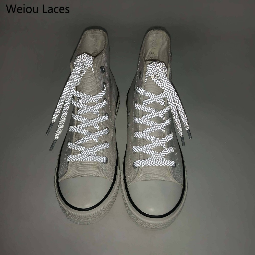 Weiou Flat 3M Reflective Shoelaces HERRINGBONE PATTERN High Visibility Runner Safety Athletic Shoe Laces Night Walk Bootlaces