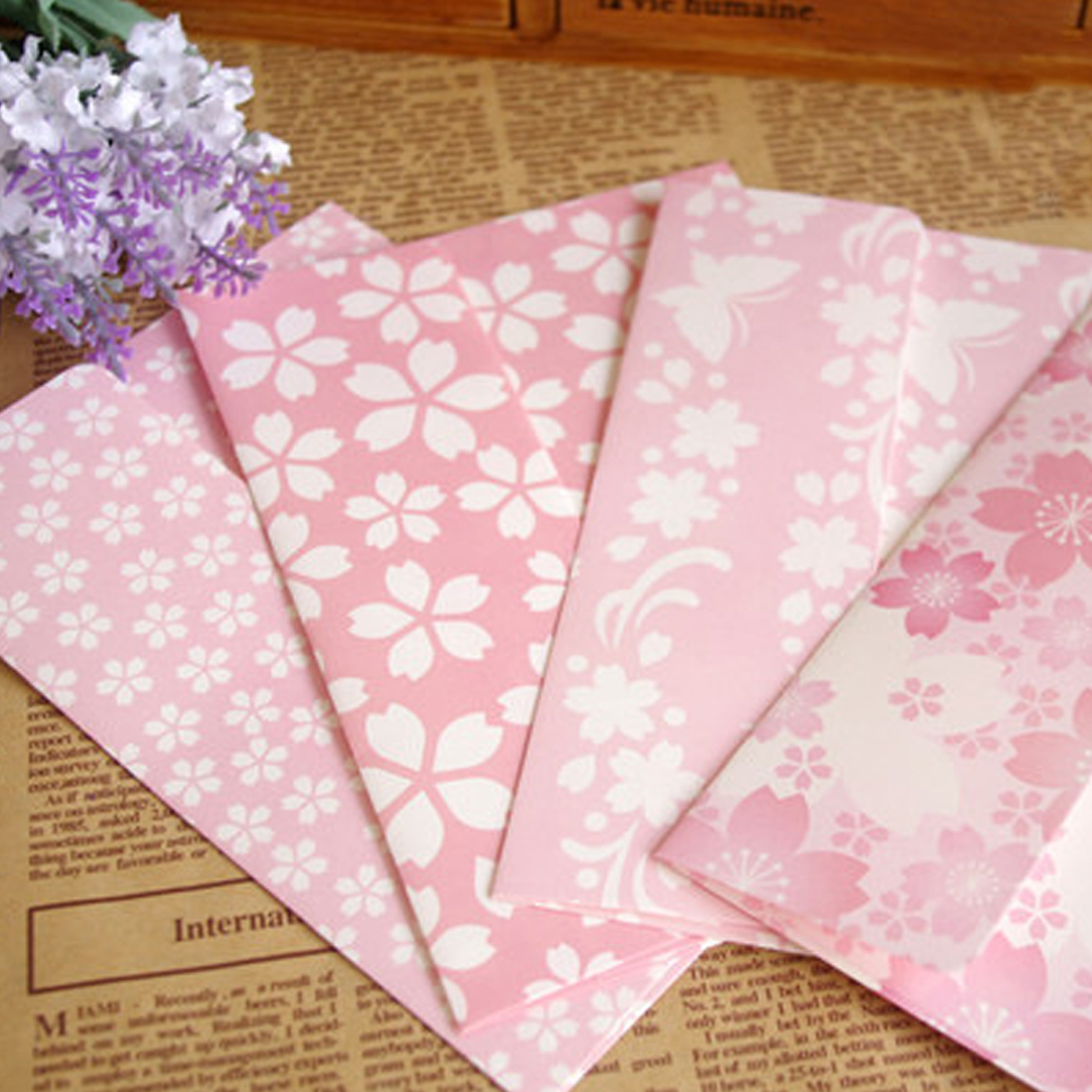 FangNymph Beautiful Cherry Blossoms Envelope Letterhead Letter Paper Elegant Floral Envelopes Love Letters 17.5*12.5cm