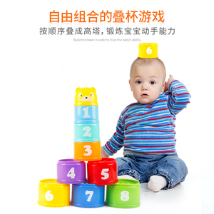 Image 2 - 8PCS Educational Baby Toys 6Month+ Figures Letters Foldind Stack Cup Tower Children Early Intelligence