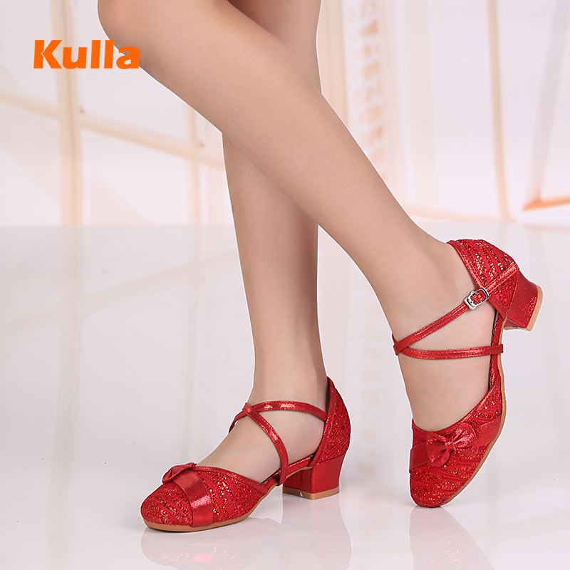 Kids Child Latin Tango Salsa Dance Shoes Red/Gold/Silver Dancing Ballroom Latin Performance Shoes For Women Girls Square Heels