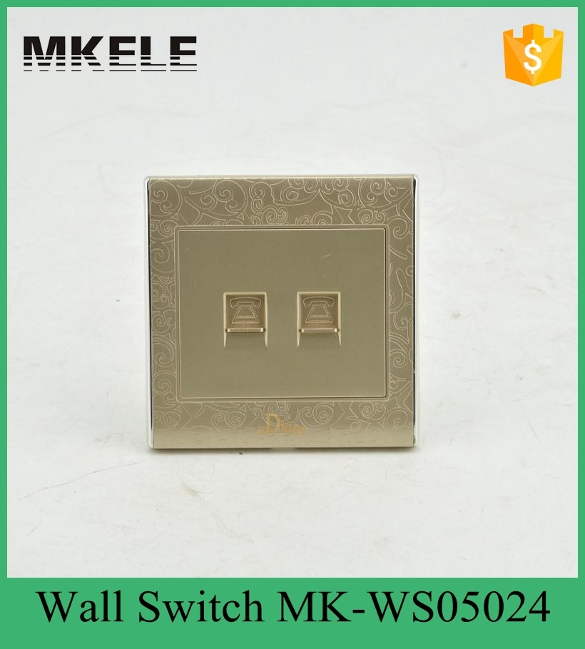 MK-WS05024 TEL wall switch and socket for Italian and UK,electric wall socket ,conceal socket outlet for hotel and office use