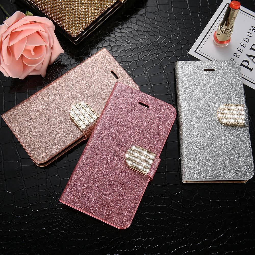 48fa207e252 KISSCASE Funda de cuero para Samsung Galaxy Note 8 5 4 3 S8 S8 más S5 S4 S3  Bling diamante brillo ranura para tarjeta del soporte del tirón cubierta  Capa