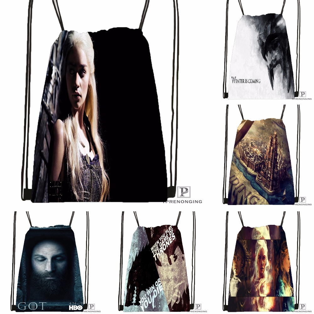 Custom Game Of Thrones Stark Drawstring Backpack Bag Cute Daypack Kids Satchel (Black Back) 31x40cm#180531-03-45