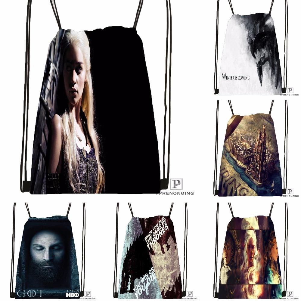 Custom Game Of Thrones Stark Drawstring Backpack Bag Cute Daypack Kids Satchel (Black Back) 31x40cm#180531-03-45