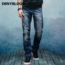 Denyblood Jeans 2017 Spring Summer Mens Distressed Jeans Ripped Slim Straight 100% Cotton Denim Pants Dot Paint lothing 151104-2