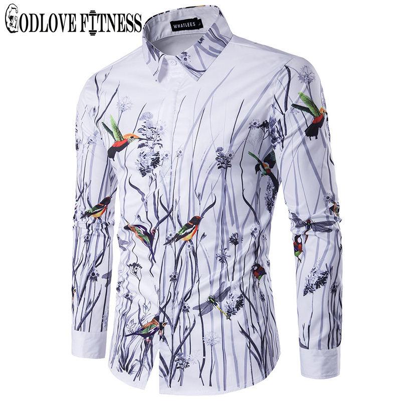 Spring New Fashion Flowers Birds Print Men Shirt Brand Clothing Lapel Camisa Masculina Long Sleeve Mens Shirts Casual Camisas
